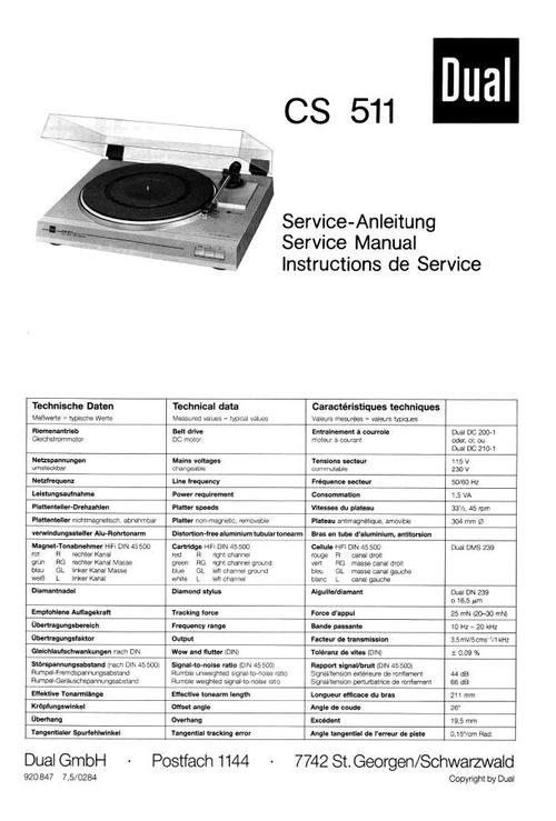dual cs-511 turntable service manual