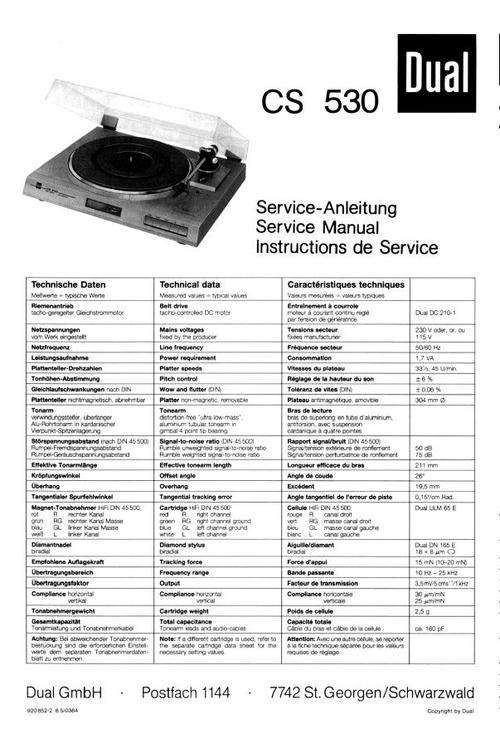 dual cs-530 turntable service manual