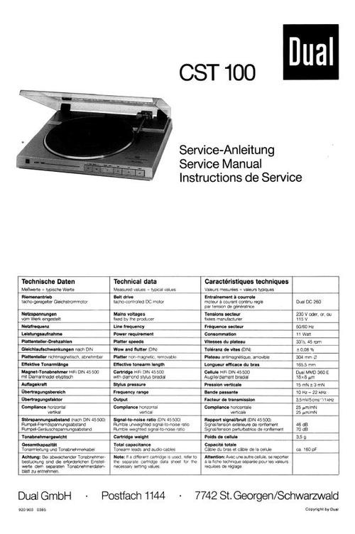 dual cst-100 turntable service manual