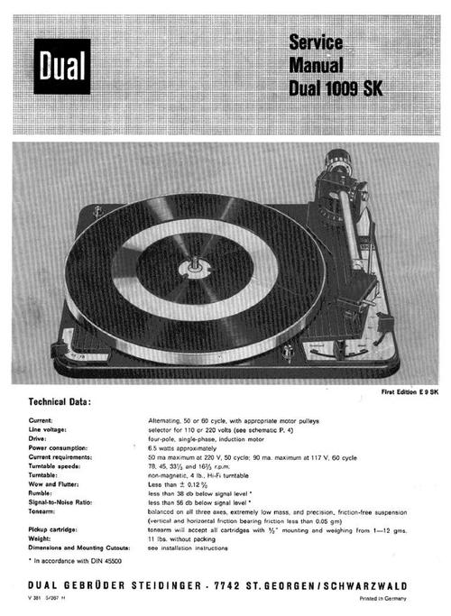 Dual 1009-sk Turntable Service Manual