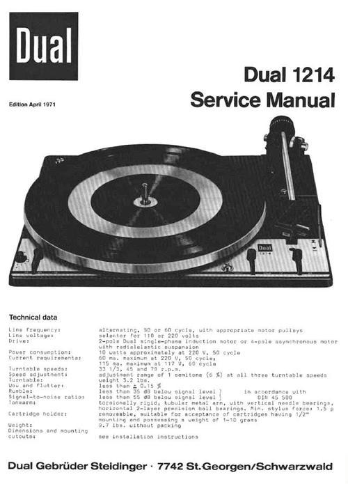 Dual 1214 Turntable Service Manual Download Manuals