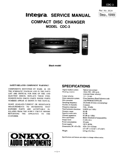 Pay for Onkyo Integra CDC-3 Service Manual