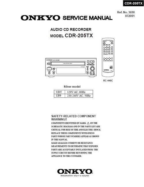Onkyo Cdr-205tx Cd Recorder Service Manual
