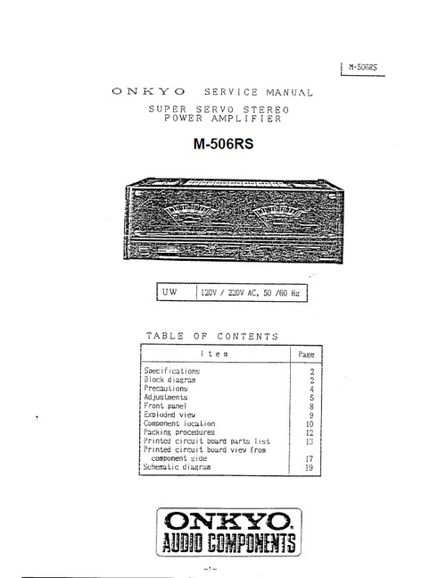Pay for Onkyo M-506RS Power Amplifier Service Manual