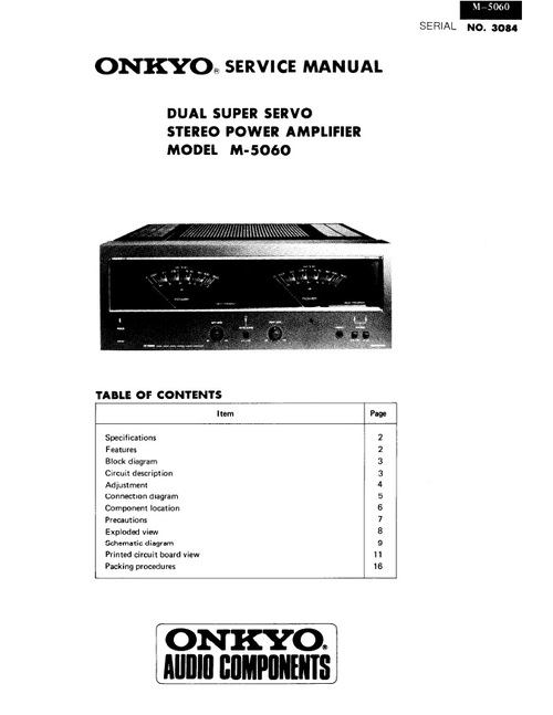 Pay for Onkyo M-5060 Power Amplifier Service Manual