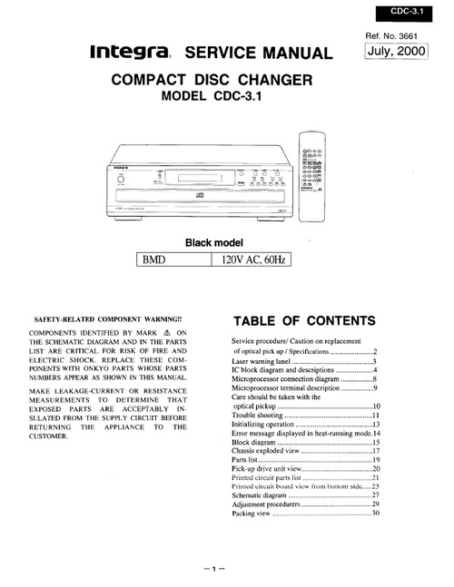 Pay for Onkyo Integra CDC-3.1 Service Manual