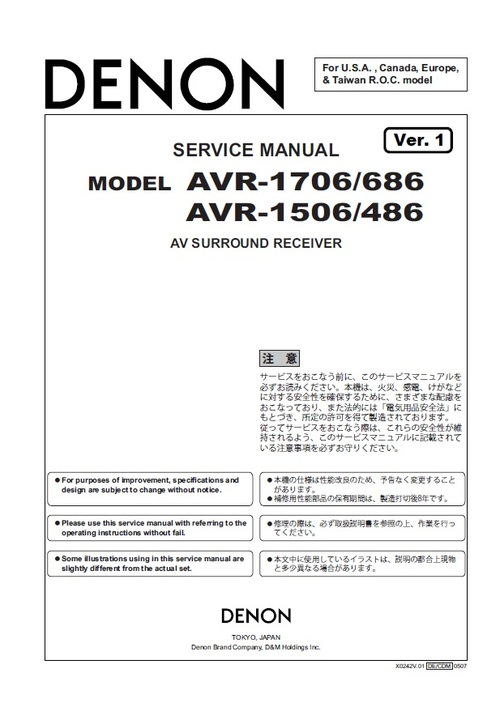 Pay for Denon AVR-686 Service Manual