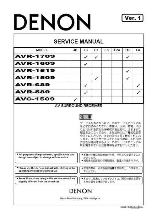 Pay for Denon AVR-1709 , AVC-1509 Service Manual