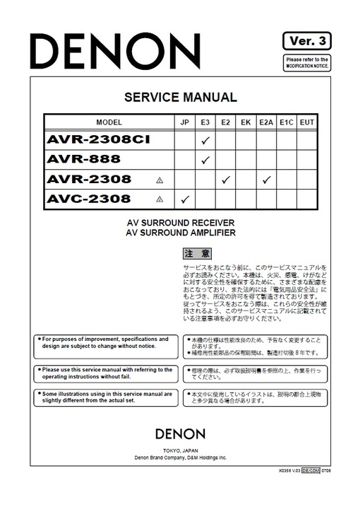 Denon AVR-2308 & AVC-2308 Service Manual