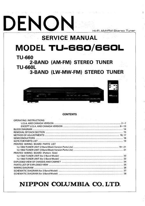 Pay for Denon TU-660 tuner Service Manual