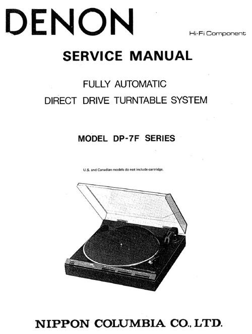 Denon DP-7F turntable Service Manual
