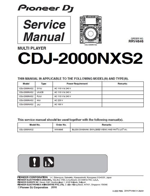 Pay for Pioneer DJM-2000-NXS2 NEXUS-2 Service Manual