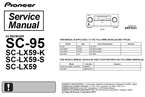Pay for Pioneer SC-LX-59 Home Cinema Receiver Service Manual