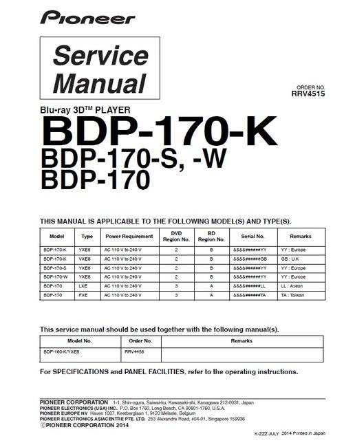 pioneer bdp 170 regions 2 3 blu ray player service manual downl rh tradebit com nad 512 cd player service manual dvd player service manual