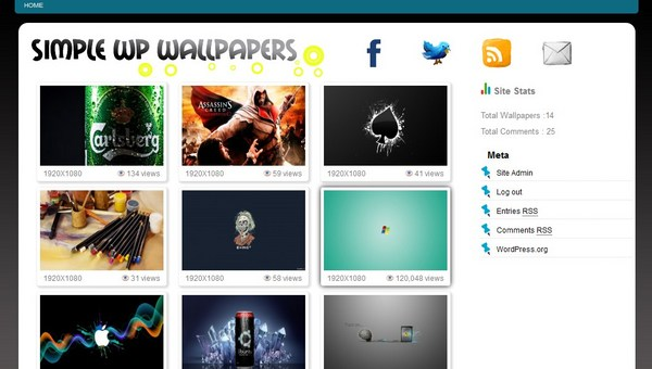 Wordpress Wallpaper Theme - Download PHP