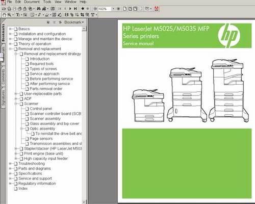 Hp laserjet m5035 mfp service and repair manual.