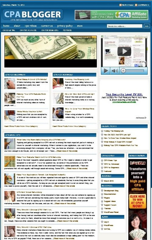 Pay for CPA Plr Niche Blog (Wp 3.x.x)