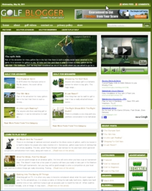 Pay for Golf Plr Niche Blog (Wp 3.x.x)