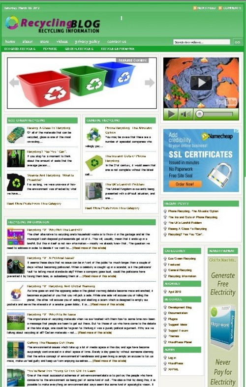 Pay for Recycling Plr Niche Blog (Wp 3.x.x)