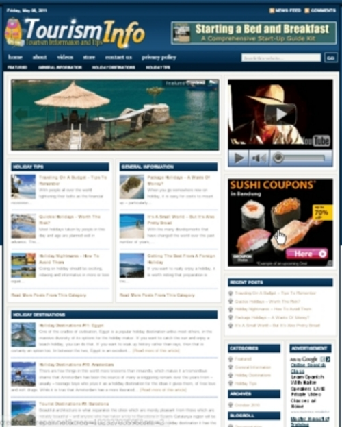Pay for Tourist Plr Niche Blog (Wp 3.x.x)