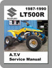 Thumbnail Suzuki LT500R QuadZilla (LT500RH, LT500RJ, LT500RK, LT500RL) ATV Workshop Service Repair Manual 1987-1990 (Searchable, Printable, Single-file PDF)