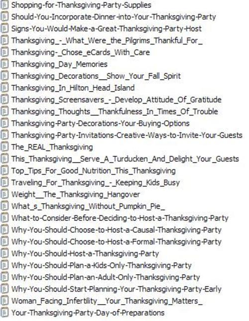 Pay for 27 Thanksgiving PLR Articles Vol. 2 + 25 FREE Reports ( Bargain Hunter Warehouse )