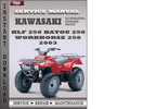Thumbnail Kawasaki KLF 250 BAYOU 250 Workhorse 250 2003 Factory Service Repair Manual Download