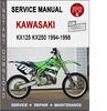 Thumbnail Kawasaki KX125 KX250 1994-1998 Service Repair Manual PDF