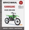 Thumbnail Kawasaki KX250 2005-2008 Service Repair Manual PDF