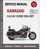 Thumbnail Kawasaki Vulcan VN2000 2004-2007 Service Repair Manual PDF