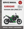 Thumbnail Kawasaki Z800 (ZR800) 2013 Service Repair Manual PDF