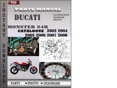 Ducati Monster S4R 2003 2004 2005 2006 2007 2008 Parts Manual Catal