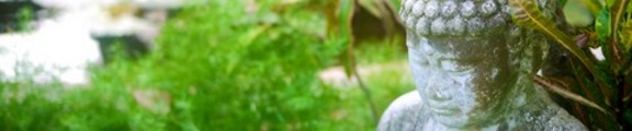 Thumbnail Buddha statue in a peaceful garden, web banner photo,