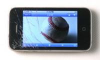 Thumbnail Smashed smart phone with baseball on screen