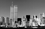 Thumbnail Worlld Trade Center, New York City skyline 1999 black and wh