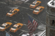 Thumbnail New York Taxis and American Flag on a snowy day