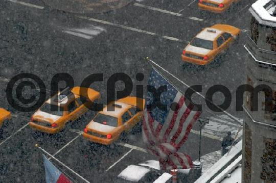Pay for Park Ave, New York, Taxis on a Snowy Day