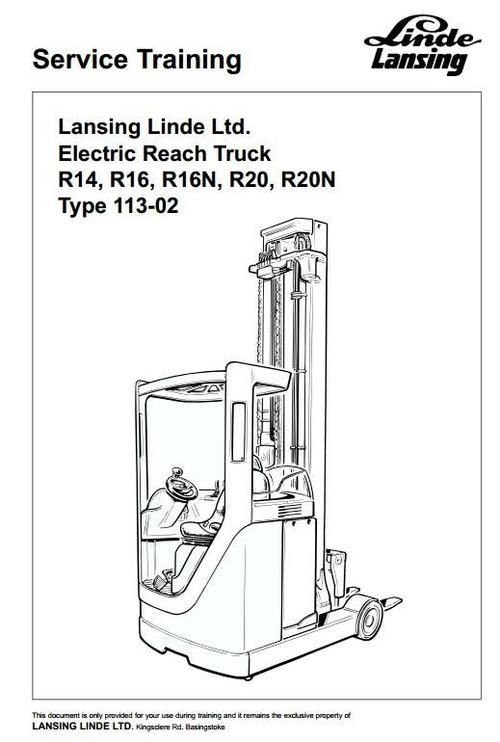 Pay for Linde Electric Reach Truck Service (Training) Manual 113-02