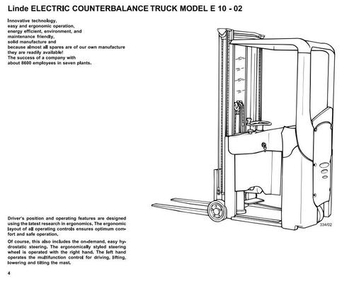 Pay for Linde E10-02 Forklift Truck 334 series Operating Instuctions (User Manual)