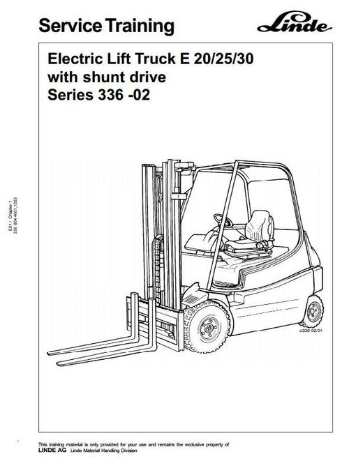 Pay for Linde Electric Forklift Truck E20, E25, E30 Series 336-02 Service Training Manual