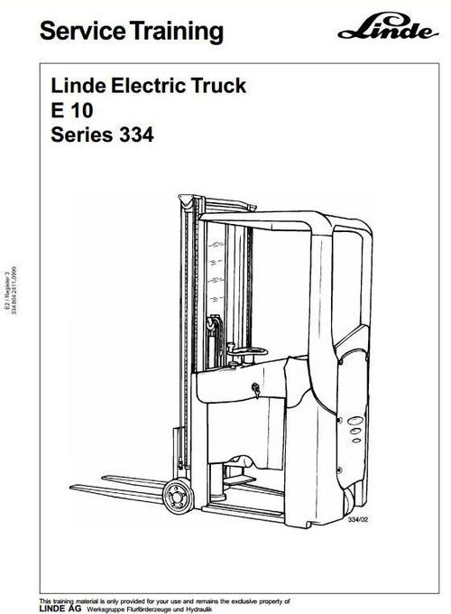 Pay for Linde Electric Forklift Truck 334 Series E10 Service Trainin