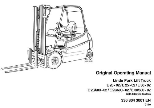 Pay for Linde Electric Forklift Truck 336-02 Series: E20, E25, E30 Operating Manual (User Manual)