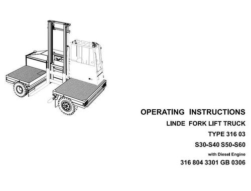 Free Linde Diesel Forklift Truck 316-03 Series: S30, S40, S50, S60 Operating Manual (User Manual) Download thumbnail
