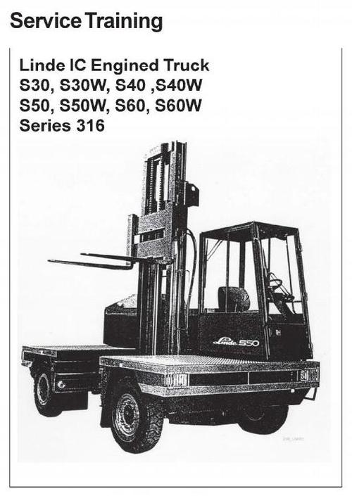 Free Linde IC Engined Truck 316 Series: S30, S40, S50, S60 Service Training  Manual Download thumbnail