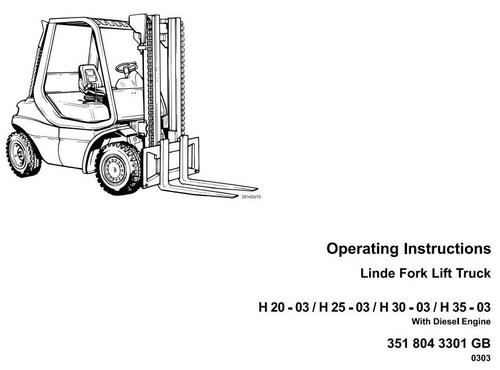 linde diesel forklift truck 351 03 series h20 h25 h30 h35 opera rh tradebit com Service ManualsOnline linde h25 forklift service manual