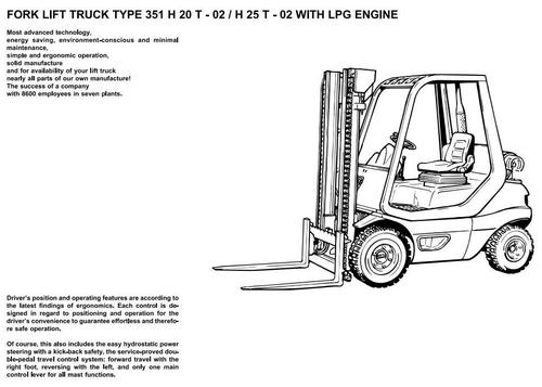 Pay for Linde LPG Forklift Truck 351-02 Series: H20, H25 Operating Manual (User Manual)