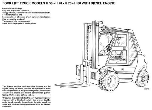 linde diese forklift truck 353 series h50 h60 h70 h80 operating rh tradebit com linde h80d parts manual H80d Linde Fork Lift