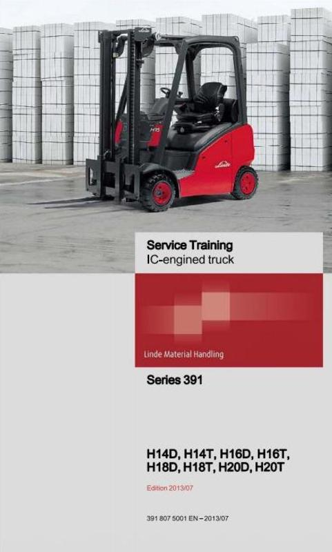 Pay for Linde IC-Engined Forklift Truck 391 Series: H14, H16, H18, H20 Service Training Manual