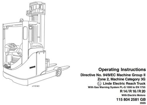 linde electric reach truck type 115 explosion protected  r14  r16