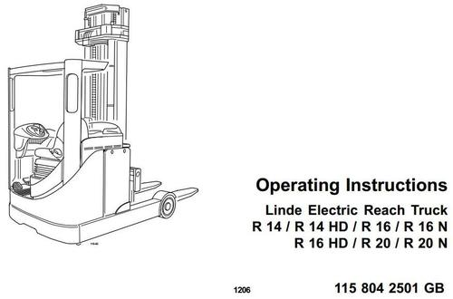 Pay for Linde Electric Reach Truck Type 115: R14, R14HD, R16, R16HD, R16N, R20, R20N Operating Instructions (User Manual)